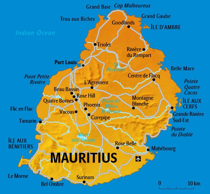 Mauritius Karte, Landkarte für Urlaub