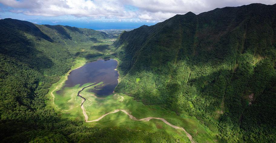Grün bewachsene Berge La Réunion